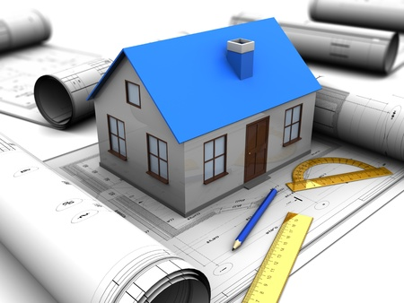 3d illustration of house model over blueprints