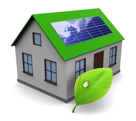 3d illustration of house with leaf and solar panel, alternative energy concept