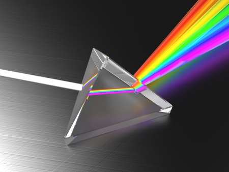 physics background: abstract 3d illustration of light dividing prism