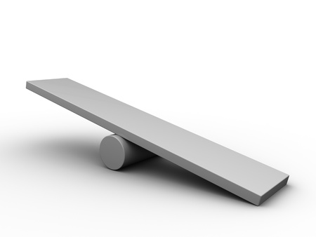 imbalance: 3d illustration of empty scale board over white background