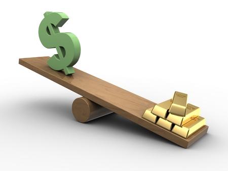 3d illustration of dollar sign and golden bricks on scale board illustration