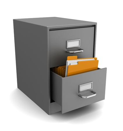 filing documents: 3d illustration of cabinet with folders over white background