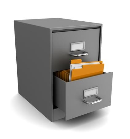 3d illustrazione di cabinet con le cartelle su sfondo bianco