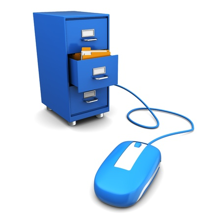filing: 3d illustration of computer mouse connected to cabinet Stock Photo