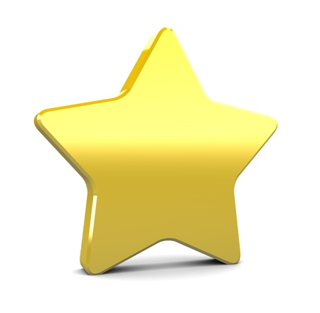 brushed gold: 3d illustration of yellow star over white background Stock Photo