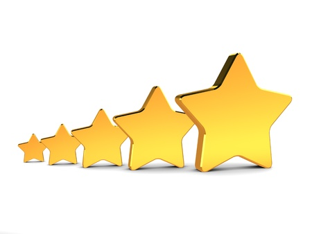 high quality: abstract 3d illustration of five golden stars, rating concept