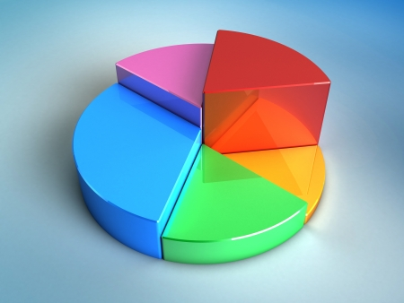 abstract 3d illustration of pie glossy chart over blue background Stock Illustration - 18792716