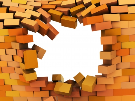 rebuild: 3d illustration of broken hole in brick wall Stock Photo