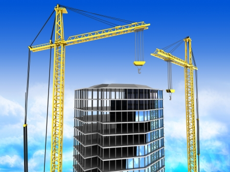 front office: 3d illustration of city building with two cranes