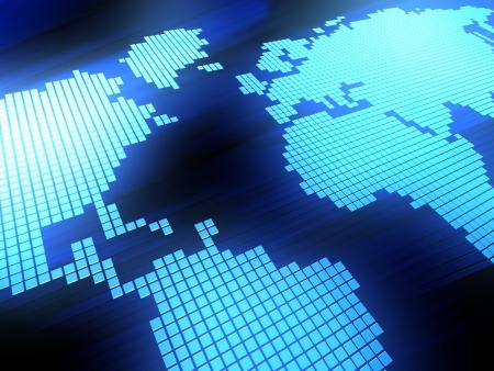 digital world map: 3d illustration of world digital map background