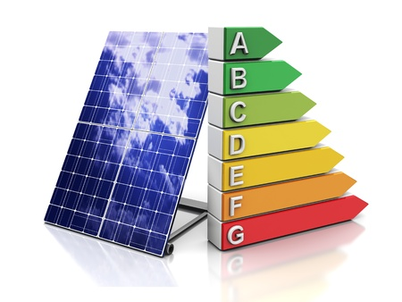 energy ranking: 3d illustration of energy efficiency symbol and solar panel
