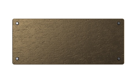 bronze background: abstract 3d illustration of copper or bronze plate over white background Stock Photo