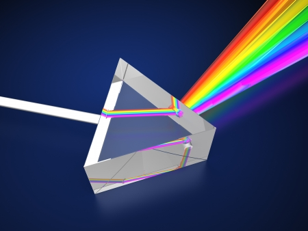 optic: 3d illustration of prism with light spectrum Stock Photo