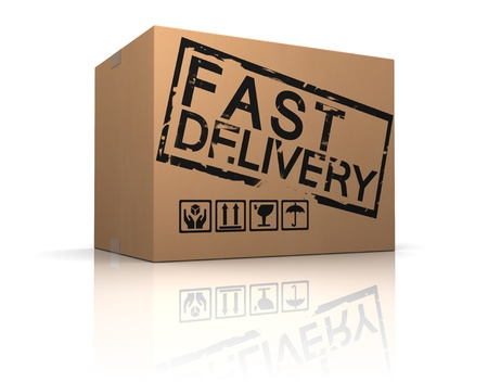 ship parcel: 3d illustration of cardboard box with fast delivery sign Stock Photo