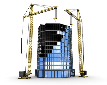3d illustration of building construction with two cranes