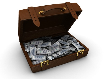 3d illustration of brown leather suitcase full of money illustration