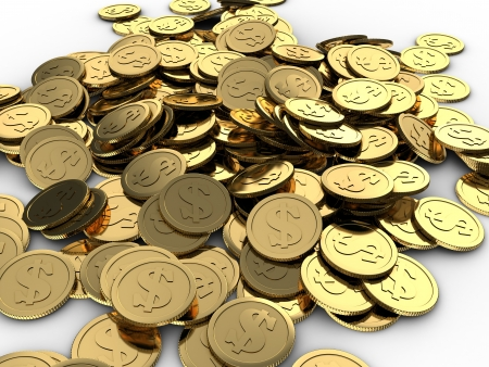 cuve: 3d illustration of coins heap over white background Stock Photo