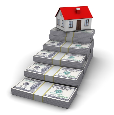 buying a house: abstract 3d illustration of money stairway to house