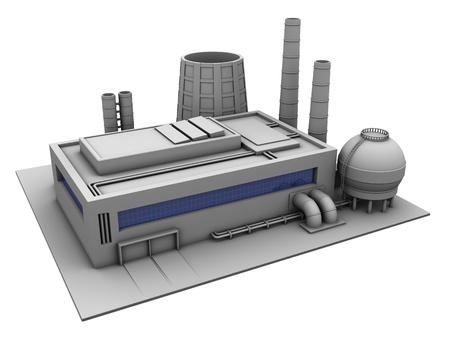3D-afbeelding van een industrieel gebouw, in de fabriek op een witte achtergrond