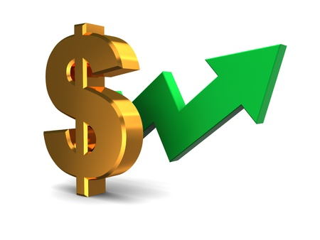 stock market graph: 3d ilustration of dollar sign with green arrow, dollar rising concept Stock Photo