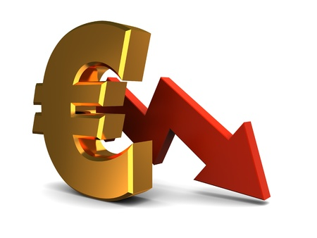 and decline: abstract 3d illustration of euro falling graph