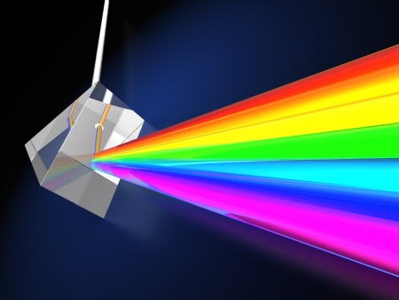 refraction of light: abstract 3d illustraton of blue background with prism dividing light ray Stock Photo