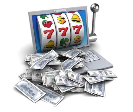 3d illustratie van de jackpot met laptop en geld