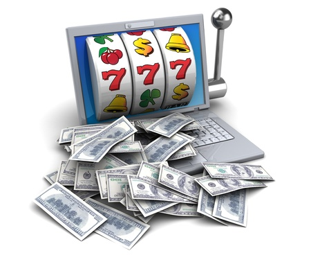 3d illustration of jackpot with laptop and money