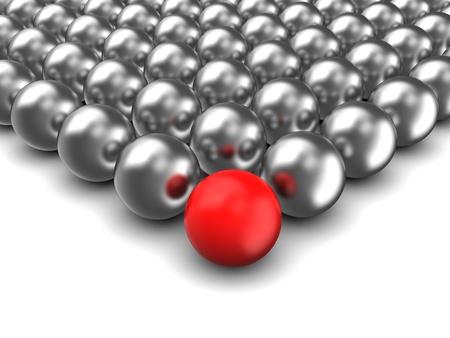 illustratie van 3d bollen met een rode Stockfoto
