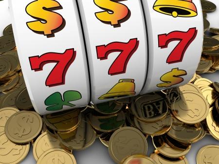 黄金のコインをジャック ポットの 3 d イラストレーション 写真素材