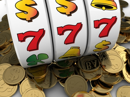 3d illustration of jackpot with golden coins