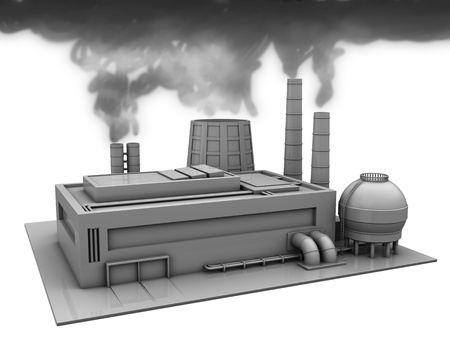 3d illustration of factory building with smoke, over white background illustration