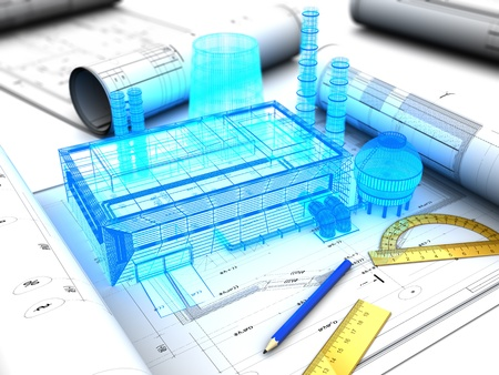 3d illustration of factory design concept Standard-Bild