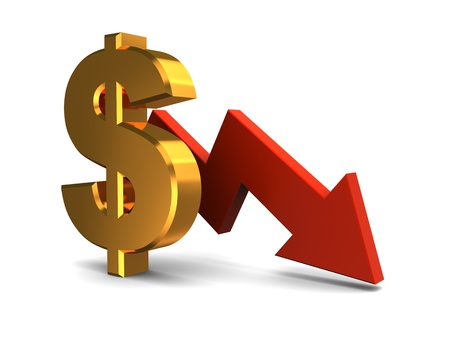 moving down: 3d illustration of dollar sign and red arrow, dollar falling concept Stock Photo