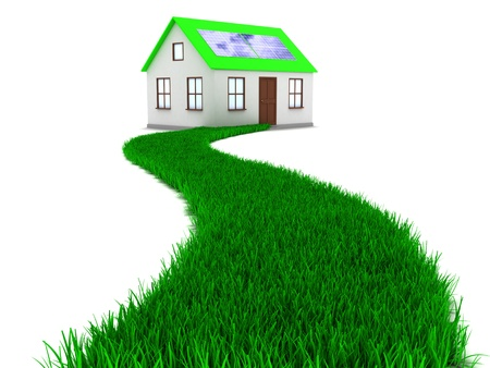 3d illustration of grass road to house with solar panel illustration