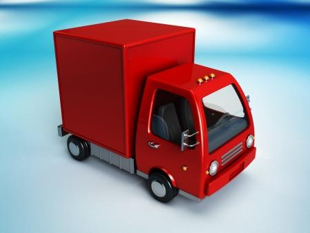3d illustration of red delivery truck overblue background illustration