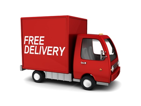 3d illustration of free delivery truck, over white background