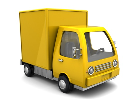 3d illustration of yellow delivery truck over white background illustration