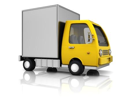 camion caricatura: 3d ilustración de camión de reparto sobre el fondo blanco