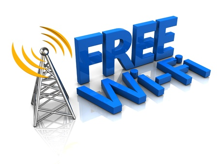 3d illustration of free wi-fi tower illustration