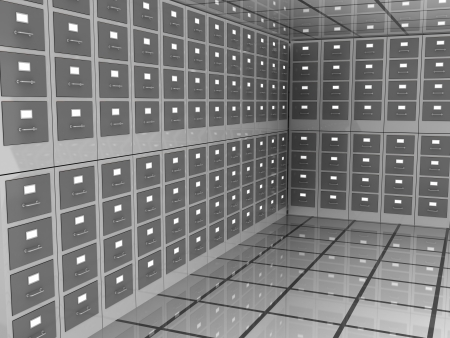 abstract 3d illustration of archive room closed illustration