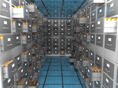 file cabinet: abstract 3d illustration of archiver room
