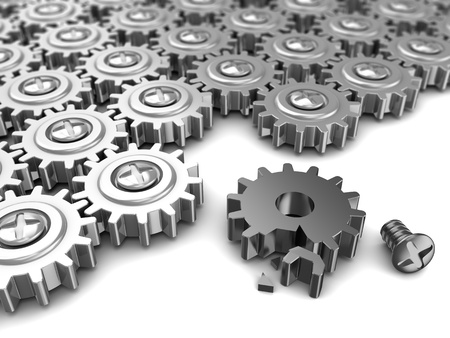 abstract 3d illustration of gear wheels system with one broken illustration