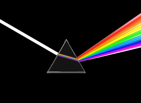 prism: 3d illustration of glass prism dividing light ray, over black background Stock Photo