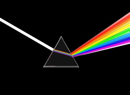 prisma: 3d ilustración de prisma de cristal que divide rayo de luz, sobre fondo negro Foto de archivo