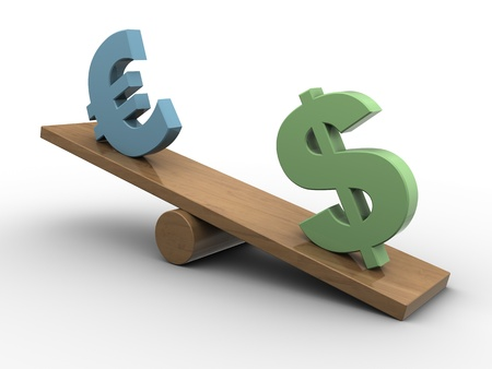 abstract 3d illustration of dollar and euro seesaw, european crisis concept illustration