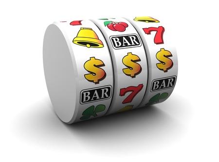 tragamonedas: Ilustración 3D de símbolo del jackpot más de fondo blanco Foto de archivo