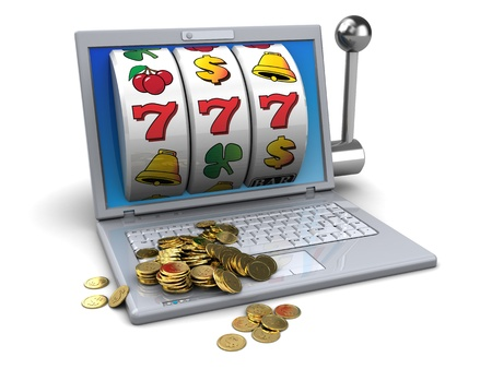 cash machine: 3d illustration of online jackpot concept