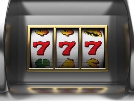 seven: 3d illustration of slot machine jackpot