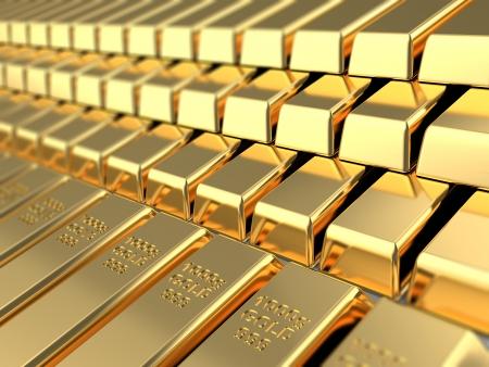 federal reserve: 3d illustration of golden bars background
